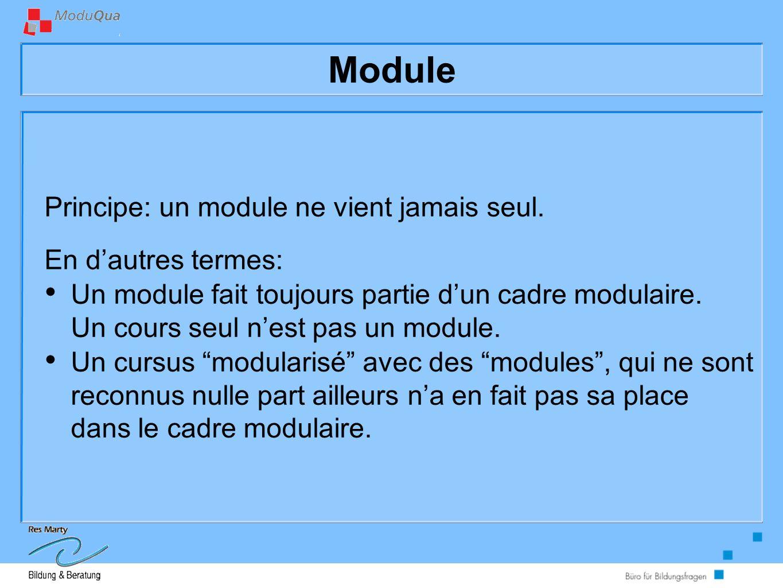 Module Principe: un module ne vient jamais seul.
