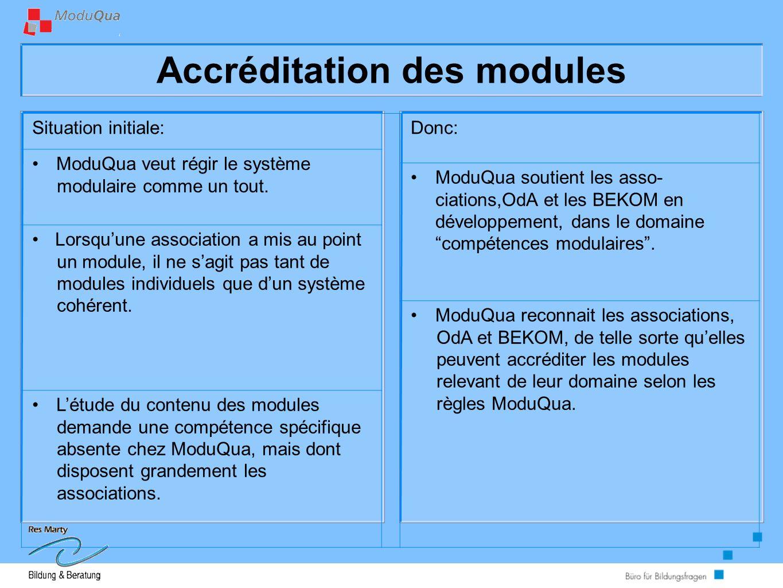Accréditation des modules Situation initiale:Donc: ModuQua veut régir le système modulaire comme un tout.