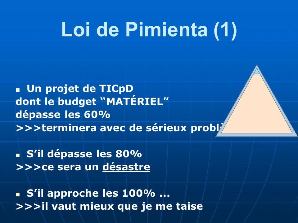 Loi de Pimienta (1) Un projet de TICpD dont le budget MATÉRIEL dépasse les 60% >>>terminera avec de sérieux problèmes… Sil dépasse les 80% >>>ce sera un désastre Sil approche les 100%...