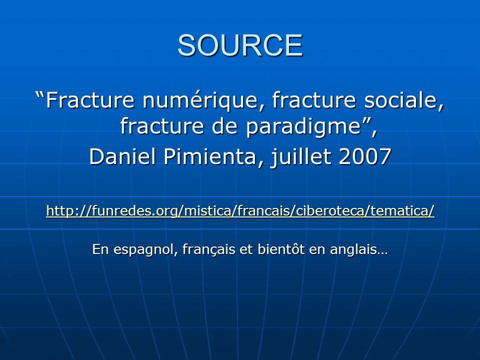 SOURCE Fracture numérique, fracture sociale, fracture de paradigme, Daniel Pimienta, juillet 2007 http://funredes.org/mistica/francais/ciberoteca/tematica/ En espagnol, français et bientôt en anglais…