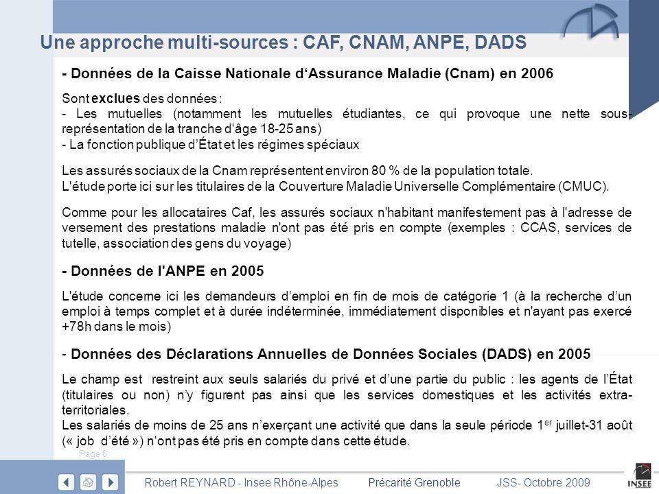 Page 9 Précarité GrenobleRobert REYNARD - Insee Rhône-AlpesJSS- Octobre 2009 Dix indicateurs principaux Pour le thème lié à la précarité monétaire : 1) Allocataires Caf à bas revenus (moins de 50% du revenu médian par unité de consommation, soit 739 euros en 2005) parmi les allocataires du champ de référence pour l étude sur les revenus.