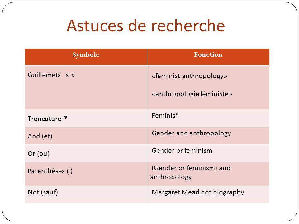 Entrez par exemple lexpression anthropologie féministe
