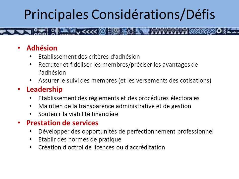 Key Considerations / Challenges Adhésion Etablissement des critères dadhésion Recruter et fidéliser les membres/préciser les avantages de l adhésion Assurer le suivi des membres (et les versements des cotisations) Leadership Etablissement des règlements et des procédures électorales Maintien de la transparence administrative et de gestion Soutenir la viabilité financière Prestation de services Développer des opportunités de perfectionnement professionnel Etablir des normes de pratique Création d octroi de licences ou d accréditation Principales Considérations/Défis