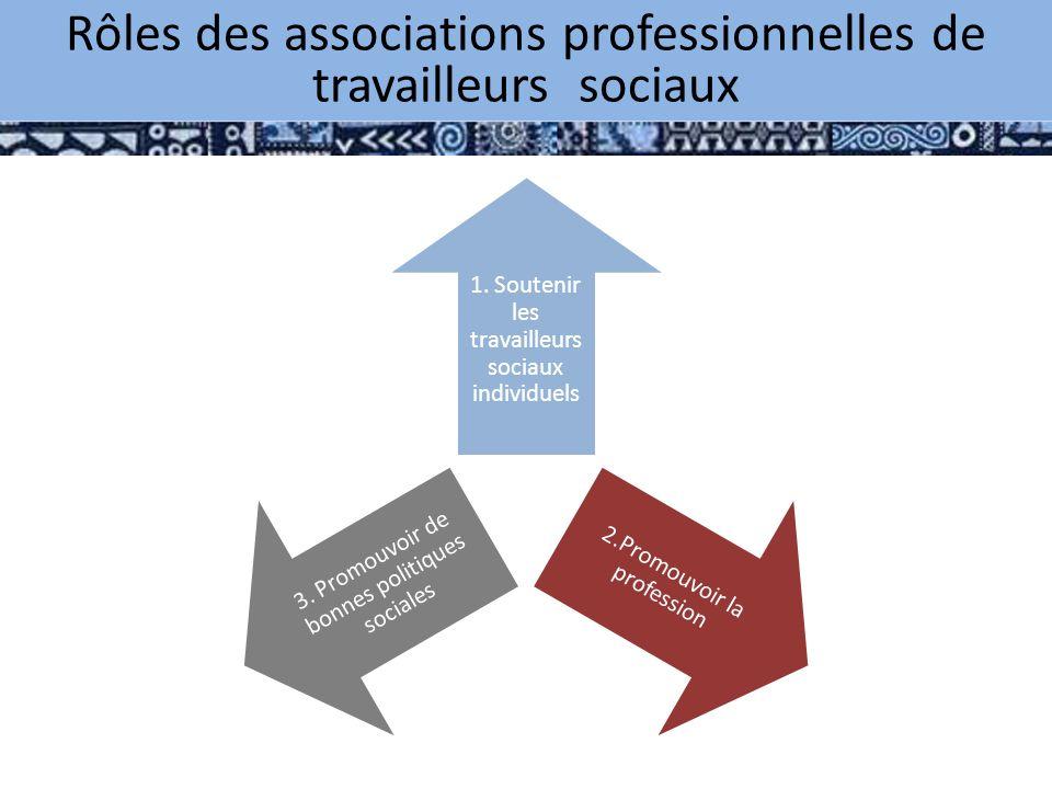 1. Soutenir les travailleurs sociaux individuels 2.Promouvoir la profession 3.