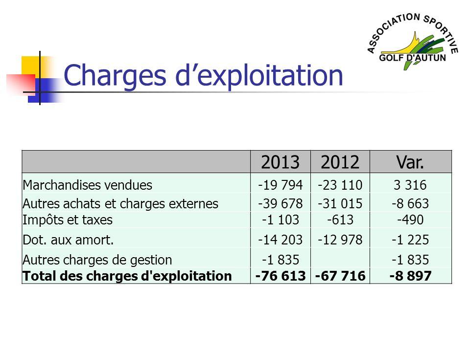 Charges dexploitation 20132012Var. Marchandises vendues-19 794-23 1103 316 Autres achats et charges externes-39 678-31 015-8 663 Impôts et taxes-1 103