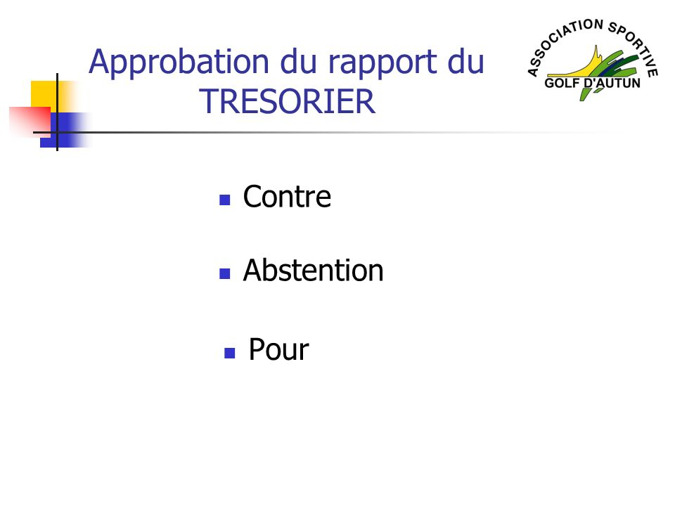 Approbation du rapport du TRESORIER Abstention Contre Pour