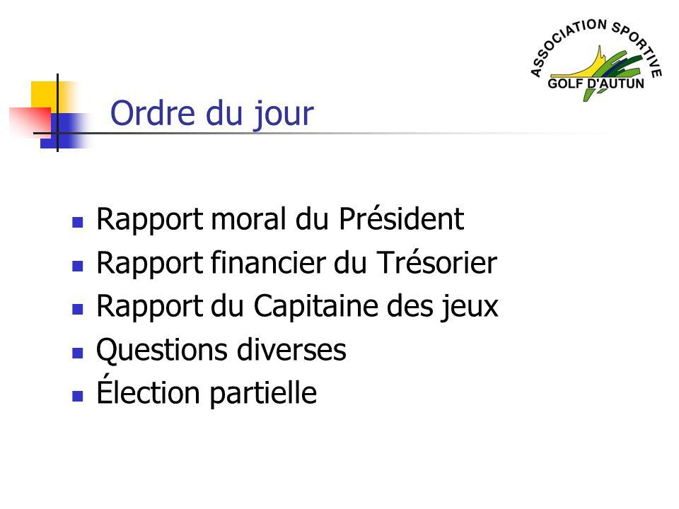 Rapport moral du Président Rapport financier du Trésorier Rapport du Capitaine des jeux Questions diverses Élection partielle Ordre du jour