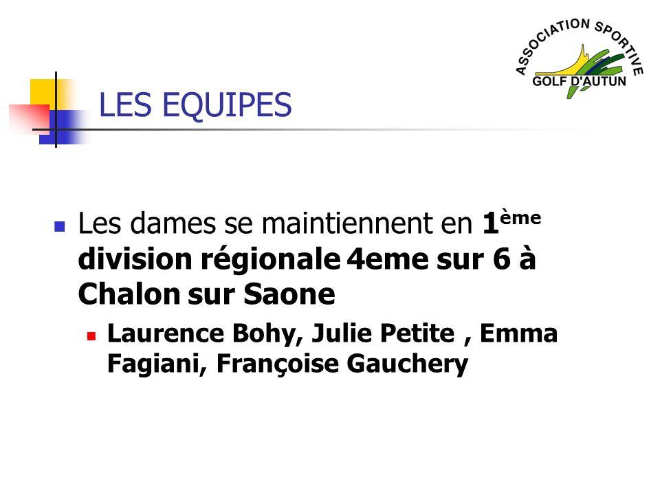 LES EQUIPES Les dames se maintiennent en 1 ème division régionale 4eme sur 6 à Chalon sur Saone Laurence Bohy, Julie Petite, Emma Fagiani, Françoise G