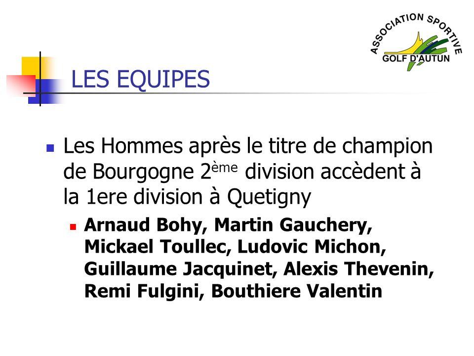 LES EQUIPES Les Hommes après le titre de champion de Bourgogne 2 ème division accèdent à la 1ere division à Quetigny Arnaud Bohy, Martin Gauchery, Mic