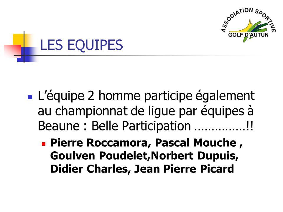 LES EQUIPES Léquipe 2 homme participe également au championnat de ligue par équipes à Beaune : Belle Participation ……………!! Pierre Roccamora, Pascal Mo