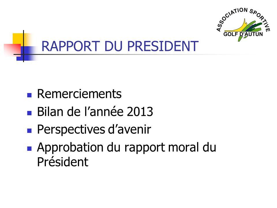RAPPORT DU PRESIDENT Remerciements Bilan de lannée 2013 Perspectives davenir Approbation du rapport moral du Président