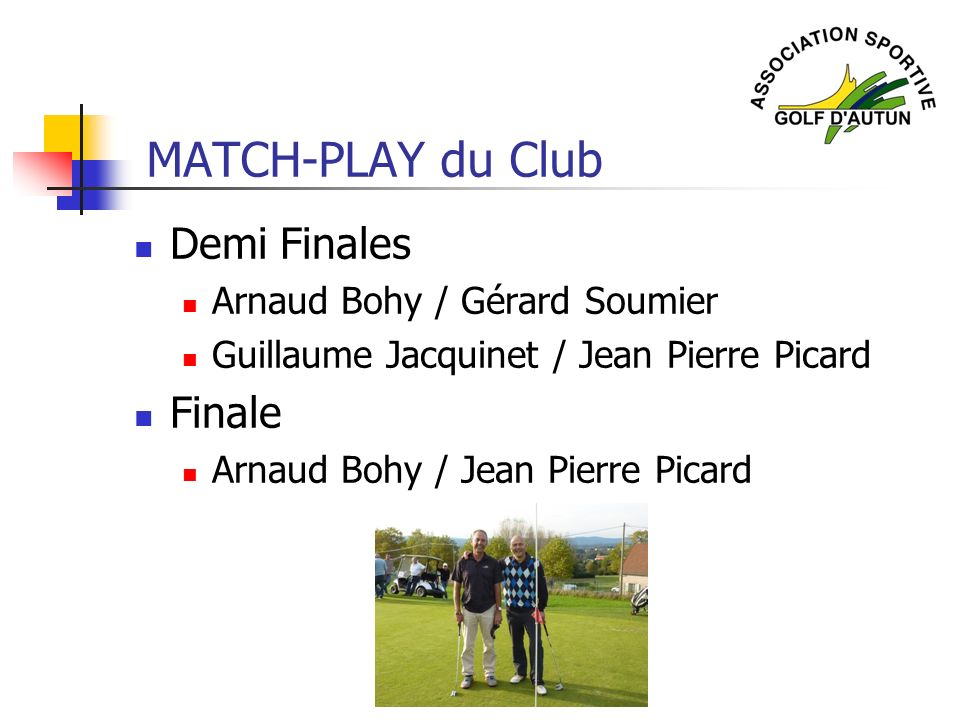 Demi Finales Arnaud Bohy / Gérard Soumier Guillaume Jacquinet / Jean Pierre Picard Finale Arnaud Bohy / Jean Pierre Picard MATCH-PLAY du Club