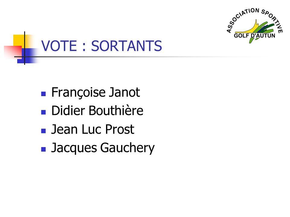 VOTE : SORTANTS Françoise Janot Didier Bouthière Jean Luc Prost Jacques Gauchery