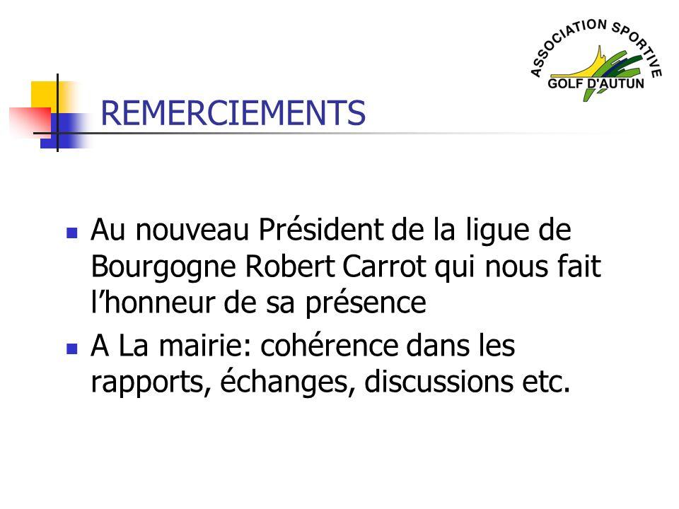 REMERCIEMENTS Au nouveau Président de la ligue de Bourgogne Robert Carrot qui nous fait lhonneur de sa présence A La mairie: cohérence dans les rappor