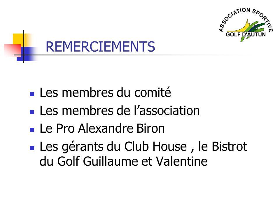 REMERCIEMENTS Les membres du comité Les membres de lassociation Le Pro Alexandre Biron Les gérants du Club House, le Bistrot du Golf Guillaume et Vale