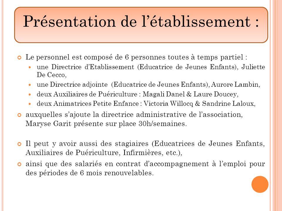 Le personnel est composé de 6 personnes toutes à temps partiel : une Directrice dEtablissement (Educatrice de Jeunes Enfants), Juliette De Cecco, une