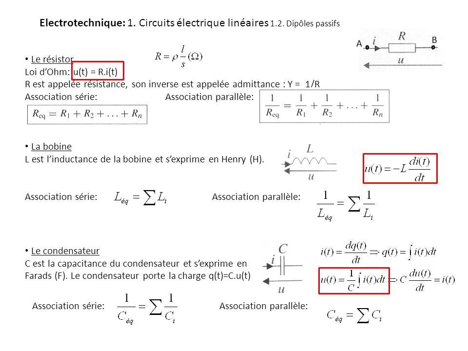 Electrotechnique: 1. Circuits électrique linéaires 1.2. Dipôles passifs Le résistor Loi dOhm: u(t) = R.i(t) R est appelée résistance, son inverse est