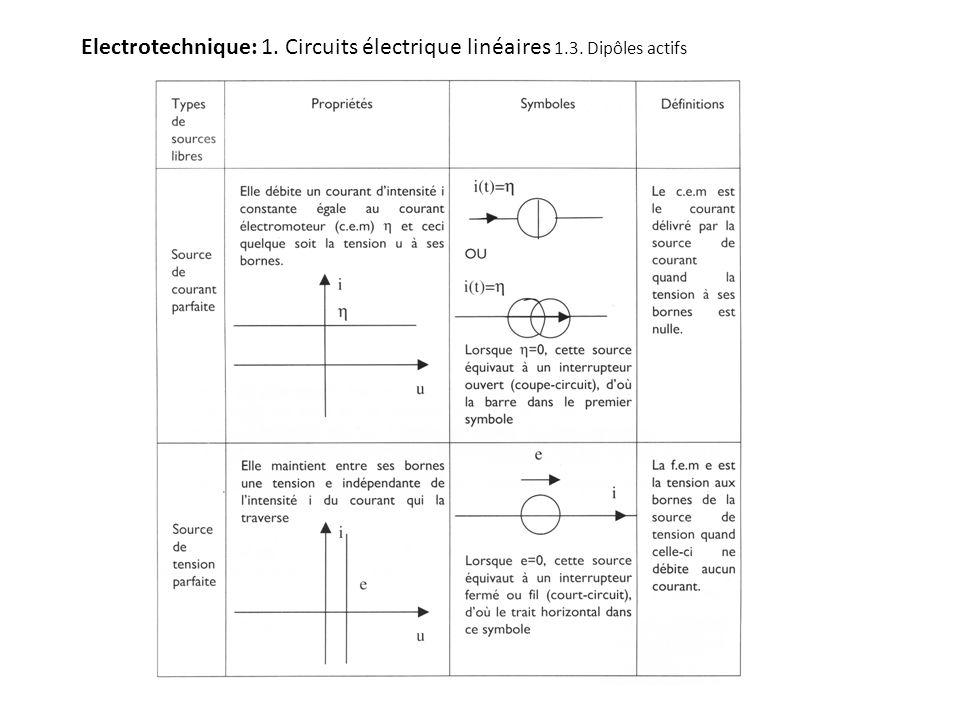 Electrotechnique: 1. Circuits électrique linéaires 1.3. Dipôles actifs