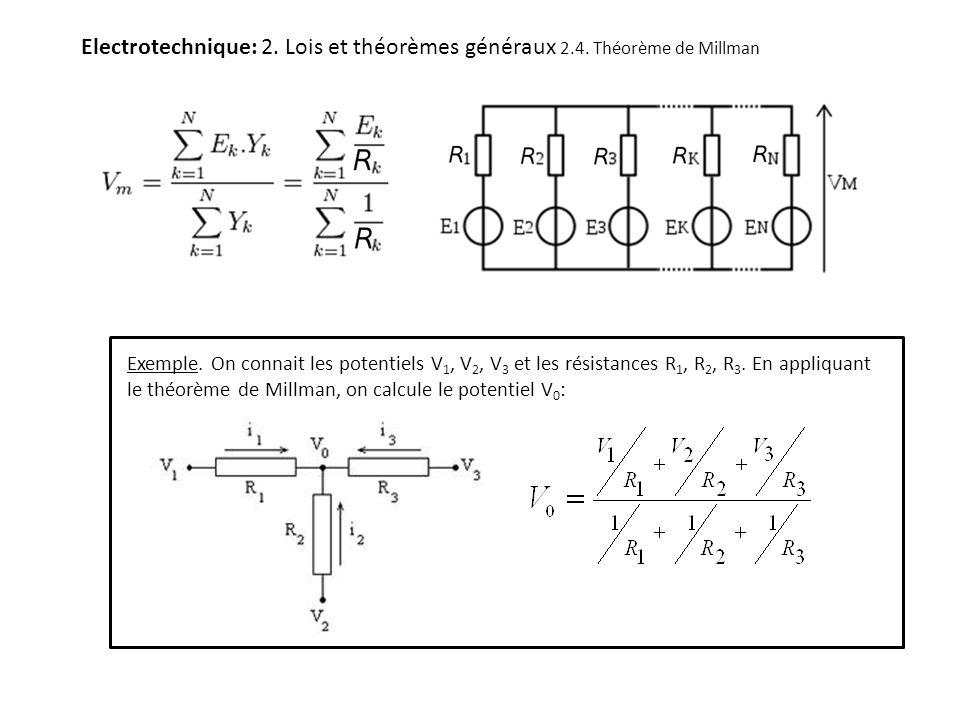 Electrotechnique: 2. Lois et théorèmes généraux 2.4. Théorème de Millman Exemple. On connait les potentiels V 1, V 2, V 3 et les résistances R 1, R 2,