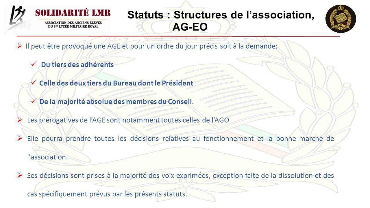 Statuts : Structures de lassociation, AG-EO Il peut être provoqué une AGE et pour un ordre du jour précis soit à la demande: Du tiers des adhérents Ce