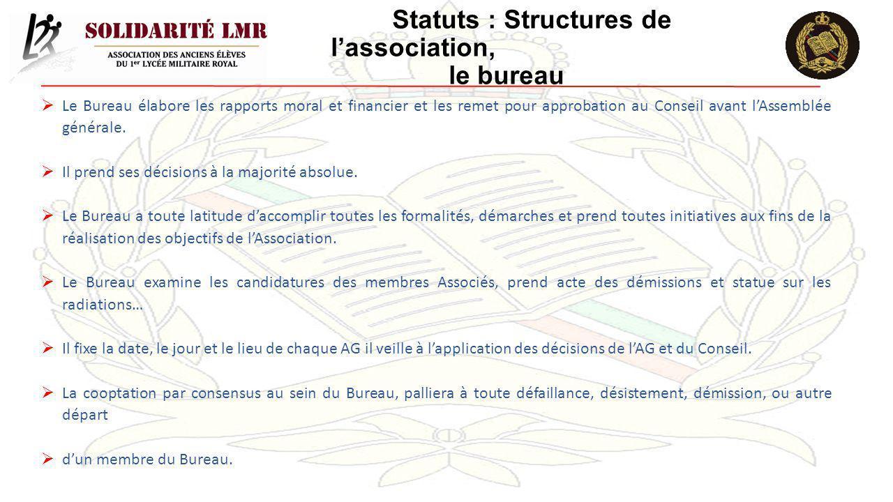 Statuts : Structures de lassociation, le bureau Le Bureau élabore les rapports moral et financier et les remet pour approbation au Conseil avant lAsse