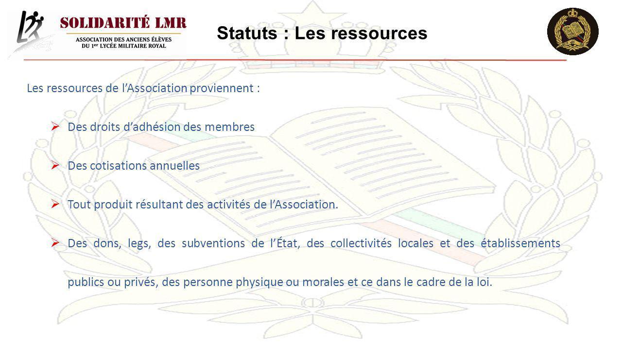 Statuts : Les ressources Les ressources de lAssociation proviennent : Des droits dadhésion des membres Des cotisations annuelles Tout produit résultan