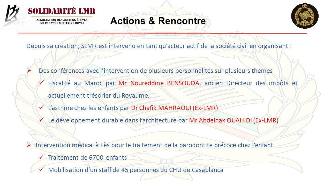 Actions & Rencontre Depuis sa création; SLMR est intervenu en tant quacteur actif de la société civil en organisant : Des conférences avec linterventi