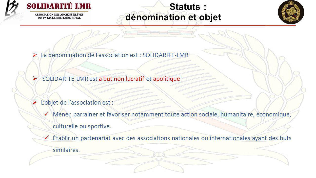 Statuts : dénomination et objet La dénomination de lassociation est : SOLIDARITE-LMR SOLIDARITE-LMR est a but non lucratif et apolitique Lobjet de las