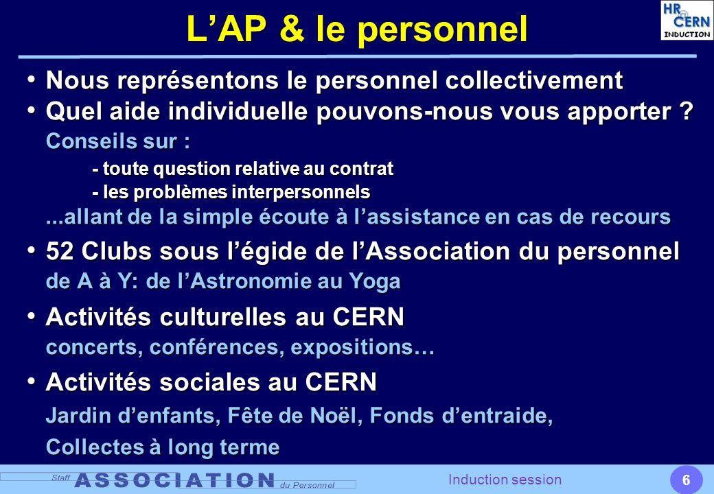 6 Induction session LAP & le personnel Nous représentons le personnel collectivement Nous représentons le personnel collectivement Quel aide individue