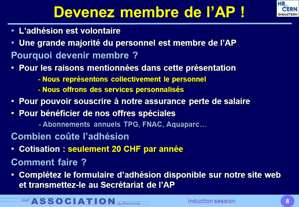 9 Induction session Qui contacter .