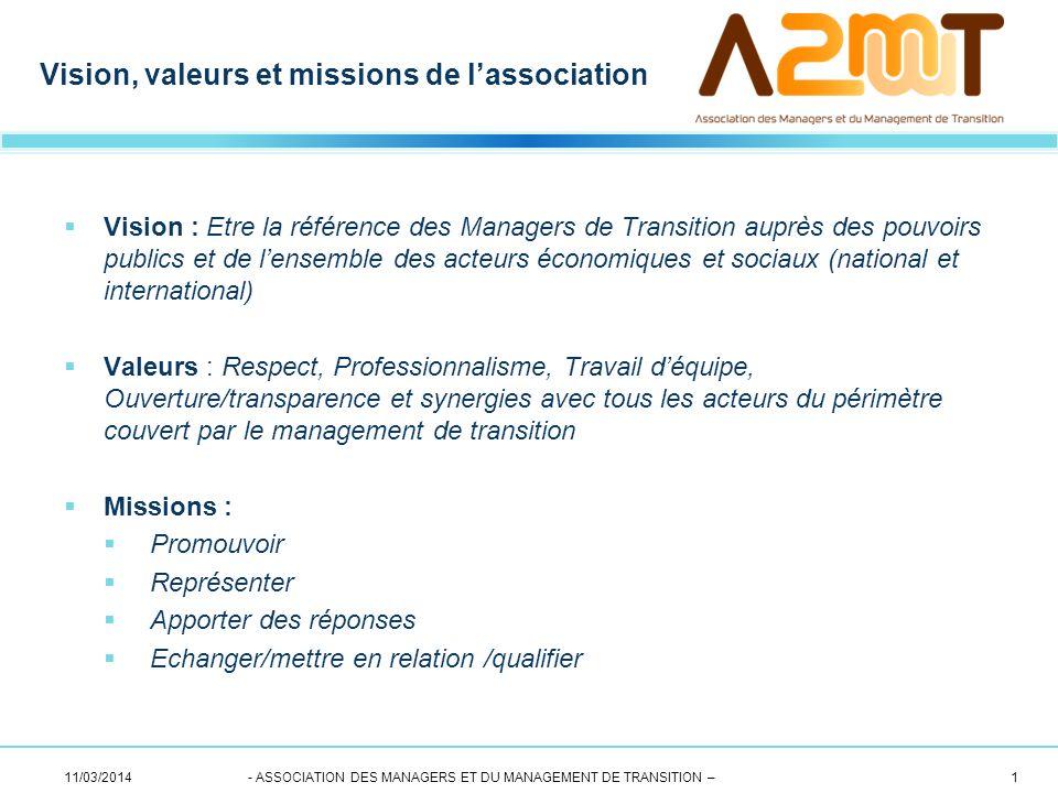 Vision : Etre la référence des Managers de Transition auprès des pouvoirs publics et de lensemble des acteurs économiques et sociaux (national et inte