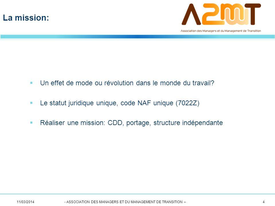 Un effet de mode ou révolution dans le monde du travail? Le statut juridique unique, code NAF unique (7022Z) Réaliser une mission: CDD, portage, struc
