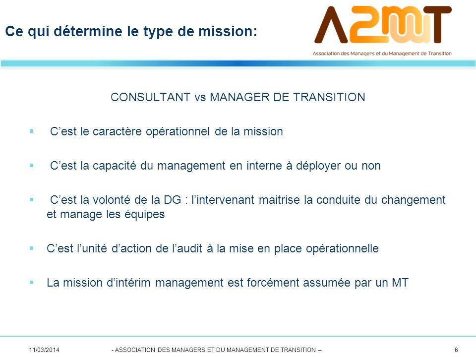 CONSULTANT vs MANAGER DE TRANSITION Cest le caractère opérationnel de la mission Cest la capacité du management en interne à déployer ou non Cest la v
