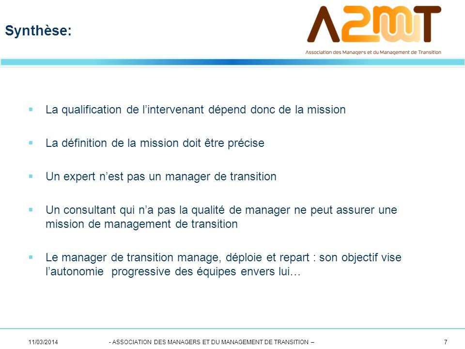 La qualification de lintervenant dépend donc de la mission La définition de la mission doit être précise Un expert nest pas un manager de transition U