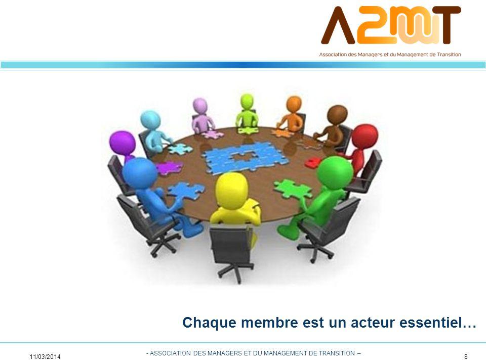 8 - ASSOCIATION DES MANAGERS ET DU MANAGEMENT DE TRANSITION – Chaque membre est un acteur essentiel… 11/03/2014