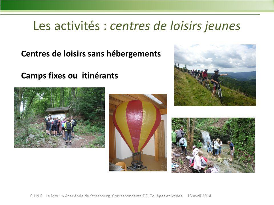Les activités : centres de loisirs jeunes Centres de loisirs sans hébergements Camps fixes ou itinérants C.I.N.E.