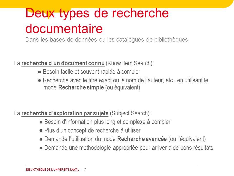 BIBLIOTHÈQUE DE L'UNIVERSITÉ LAVAL 7 Deux types de recherche documentaire Dans les bases de données ou les catalogues de bibliothèques La recherche du