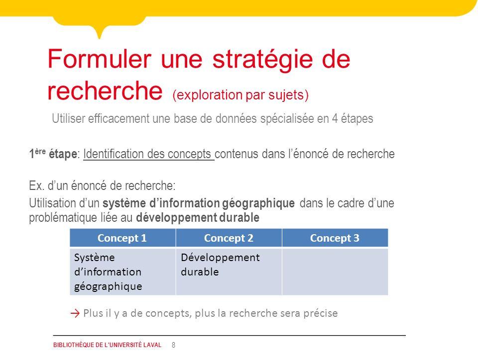 BIBLIOTHÈQUE DE L'UNIVERSITÉ LAVAL 8 Utiliser efficacement une base de données spécialisée en 4 étapes Formuler une stratégie de recherche (exploratio