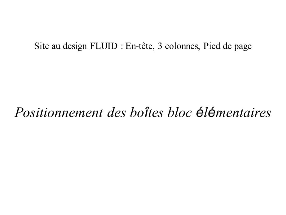 Site au design FLUID : En-tête, 3 colonnes, Pied de page Positionnement des bo î tes bloc é l é mentaires