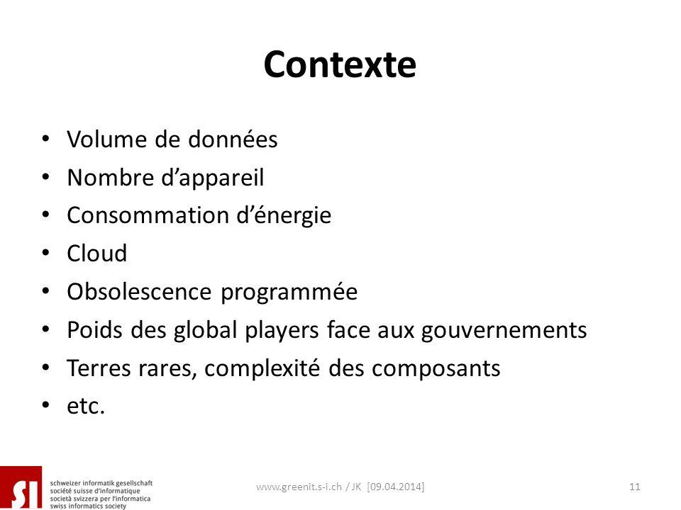 Contexte Volume de données Nombre dappareil Consommation dénergie Cloud Obsolescence programmée Poids des global players face aux gouvernements Terres
