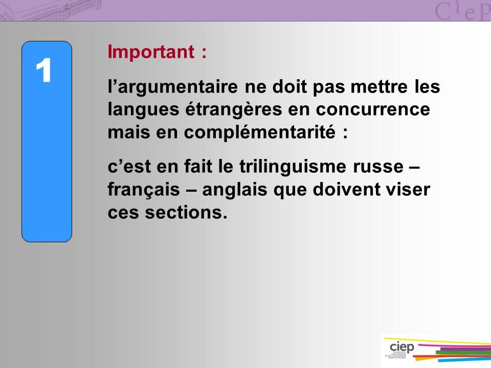 1 Important : largumentaire ne doit pas mettre les langues étrangères en concurrence mais en complémentarité : cest en fait le trilinguisme russe – fr