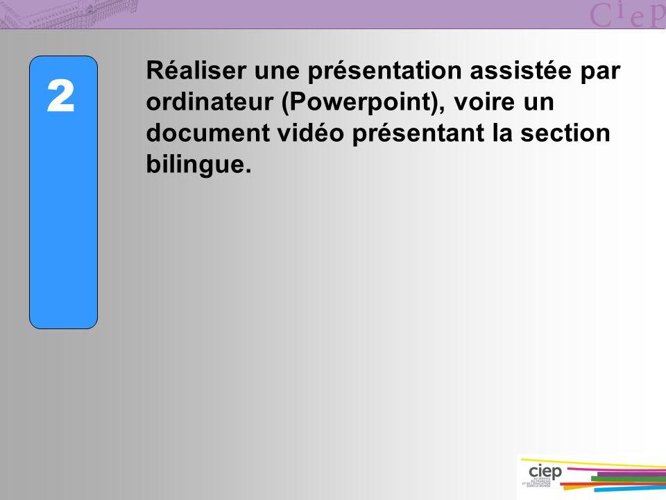 2 Réaliser une présentation assistée par ordinateur (Powerpoint), voire un document vidéo présentant la section bilingue.