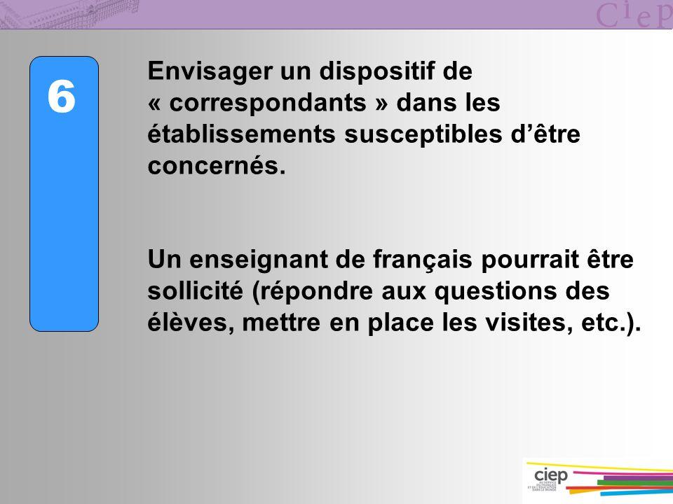 6 Envisager un dispositif de « correspondants » dans les établissements susceptibles dêtre concernés. Un enseignant de français pourrait être sollicit
