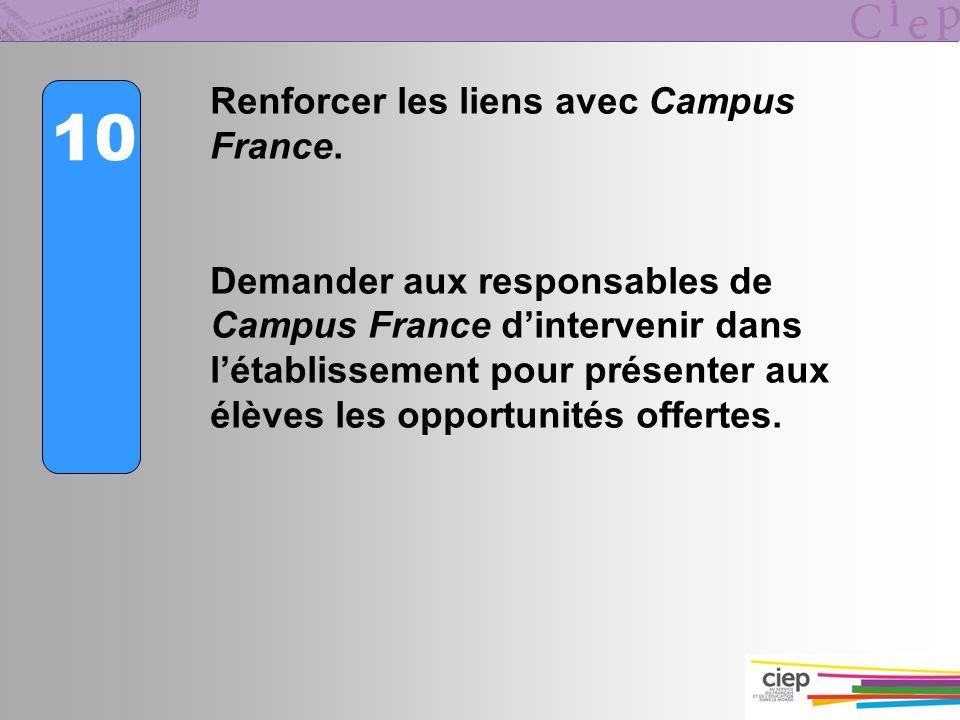 10 Renforcer les liens avec Campus France. Demander aux responsables de Campus France dintervenir dans létablissement pour présenter aux élèves les op