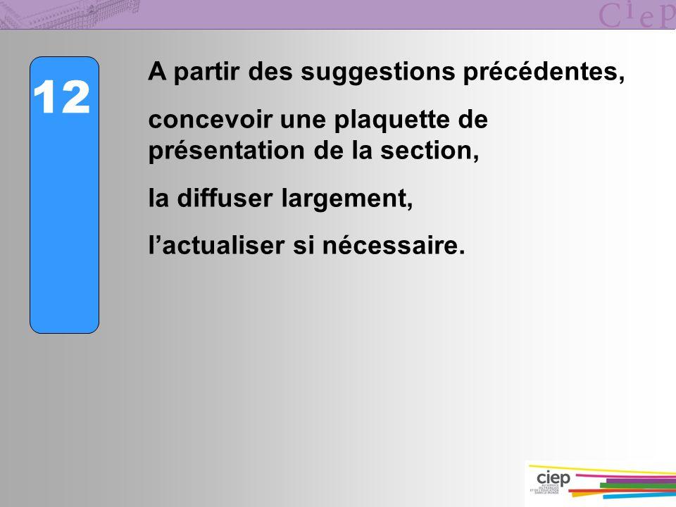 12 A partir des suggestions précédentes, concevoir une plaquette de présentation de la section, la diffuser largement, lactualiser si nécessaire.