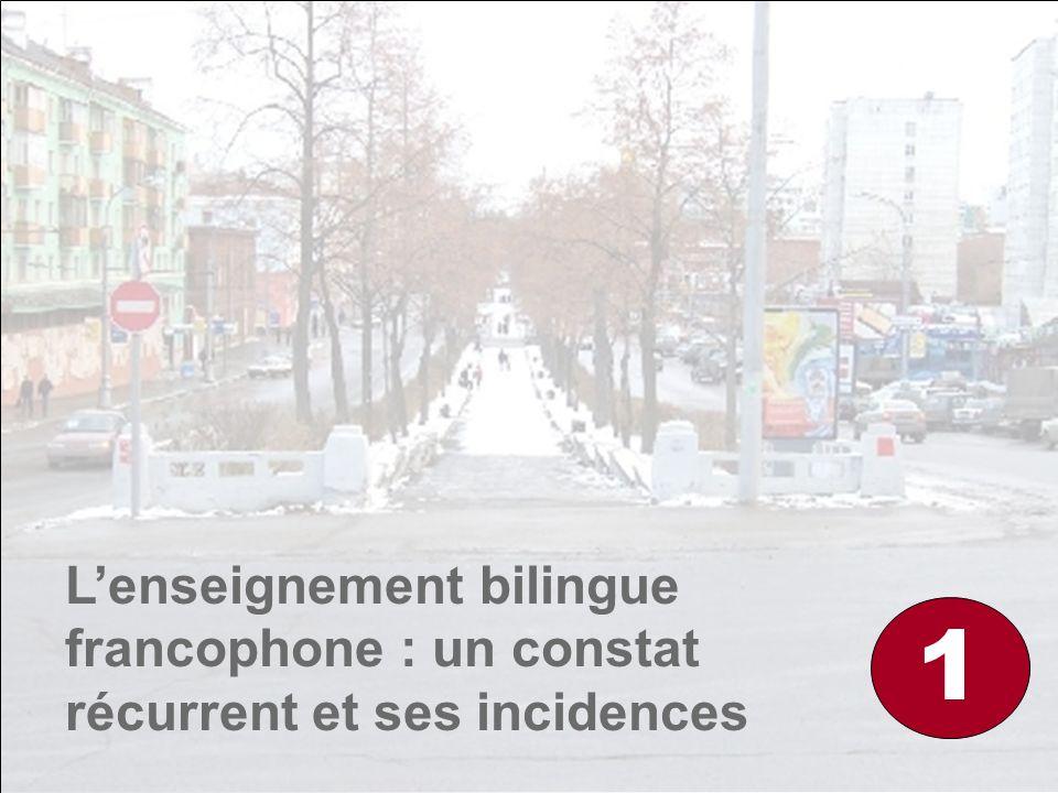 Lenseignement bilingue francophone : un constat récurrent et ses incidences 1