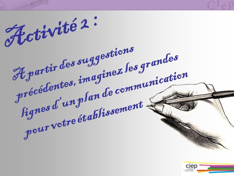 Activité 2 : A partir des suggestions précédentes, imaginez les grandes lignes dun plan de communication pour votre établissement
