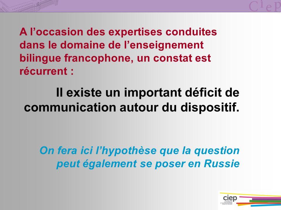 A loccasion des expertises conduites dans le domaine de lenseignement bilingue francophone, un constat est récurrent : Il existe un important déficit