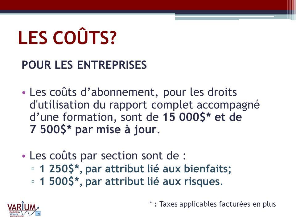 LES COÛTS? POUR LES ENTREPRISES Les coûts dabonnement, pour les droits d'utilisation du rapport complet accompagné dune formation, sont de 15 000$* et
