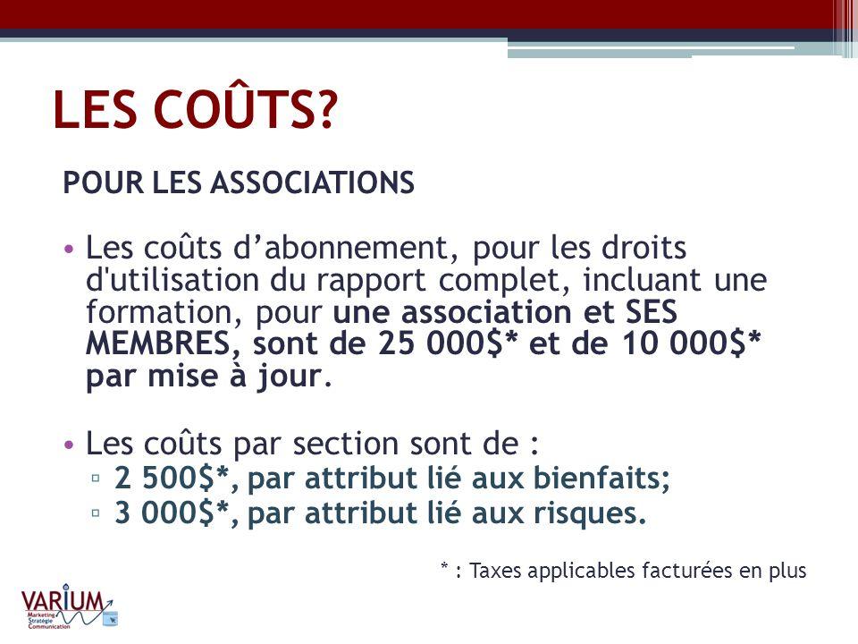 LES COÛTS? POUR LES ASSOCIATIONS Les coûts dabonnement, pour les droits d'utilisation du rapport complet, incluant une formation, pour une association